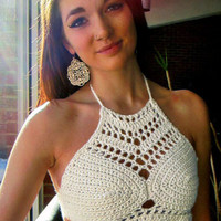 White Halterneck Crochet Boho Crop Top