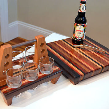 Handmade Medium Wood Cutting Board and 6 Pack Rack - The Woodland ll - Mahogany & Bloodwood