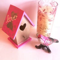 Miniature birdhouse - pink and gold love shack