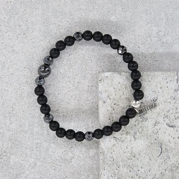 Mens Iron Ire Bracelet in Onyx and Antique Silver