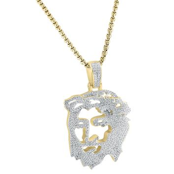"Sterling Silver 14k Gold Finish Ghost Cut Out Religious Jesus Hip Hop Pendant Free 24"" Box Chain"