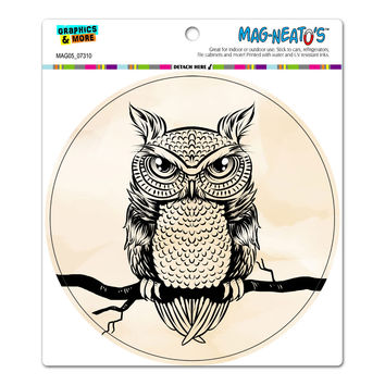 Owl Perched on Tree Brand - Antique Rustic Tribal Circle MAG-NEATO'S TM Car-Refrigerator Magnet