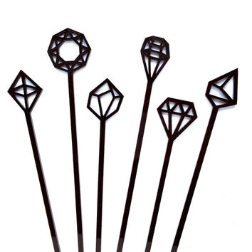 Black Geometric Gem Drink Stirrers - 6 Laser Cut Acrylic Swizzle Sticks - Geometric Party // Cocktail Stir Sticks // Wedding Decor