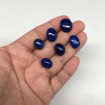 "6pcs,47.5cts, 0.7""-0.8""Natural Lapis Lazuli Oval Cabochons @Afghanistan,CP77"