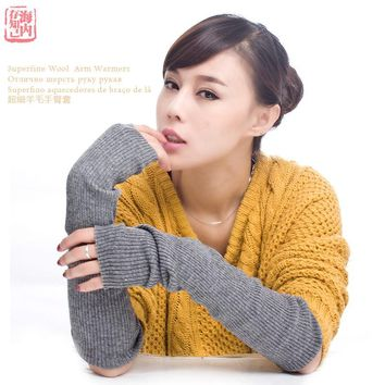 Autumn Winter Women's Arm Warmers Knitted Woolen Arm Sleeve