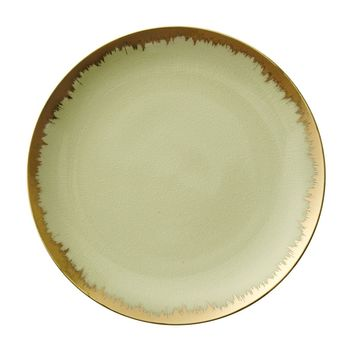 AURA DINNERWARE IN SPEARMINT WITH GOLD BRUSHSTROKE