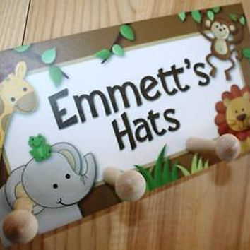 Kids Hat Holder Jungle Animals Safari Bedroom Personalized Clothing Rack HH0010