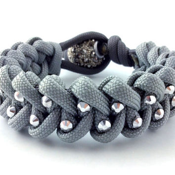 Paracord Bracelet - Silver Paracord, Silver Rhinestone Studs and a Pave Bead Clasp