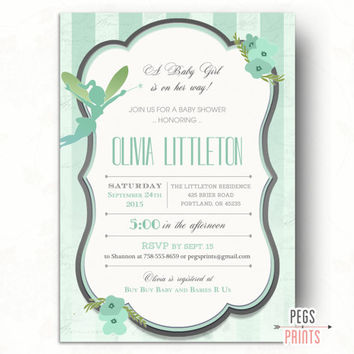 Fairy Baby Shower Invitation // Fairy Garden Baby Shower Invitation for Girl // Enchanted Baby Shower Invites for Girl // Mint Green Fairy