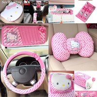 Pink Hello Kitty Car-Styling Car Seat Interior Accessories Hello Kitty Car Steering Wheel Cover Safty Belt Handbrake Gears Cover