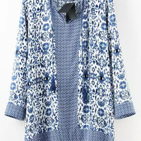 Blue Floral Print Long Sleeve Blouse
