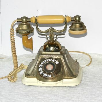 Vintage French Victorian Telephone with Curly Cord Very Decorative Made Japan | Retro Phone Rotary Dial Fancy Receiver