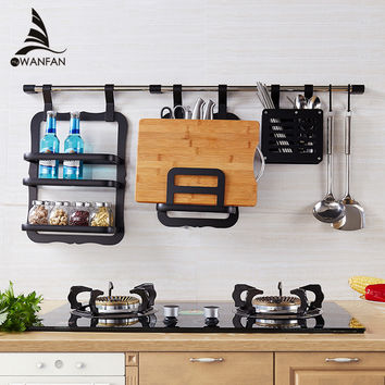 Wall Mounted Aluminium Kitchen Pot Cover Holder Storage Shelf Rack Kitchen Tool Holder Kitchen Rack Shelving Spice Rack Yg-T983R