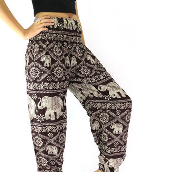 hippie pants/harem pants/boho clothing elephant pattern design for yoga one size fits all elastic waist ankle in brown