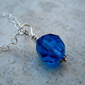 Blue Pendant Necklace Swarovski Crystal Sterling Silver Jewelry