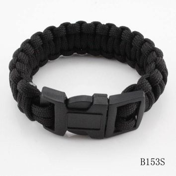 Mix Colors Parachute Cord Emergency Paracord Survival Bracelet With Plastic Buckle Camping Jewelry For Climbing