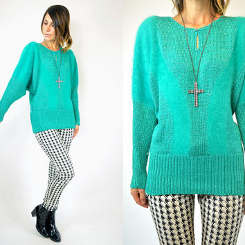 knitted EMERALD avant garde fuzzy ANGORA sweater JUMPER batwing pullover, extra small-small