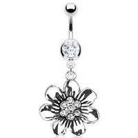 Body Accentz® Belly Button Ring Navel Vintage Casted Flower CZ Body Jewelry 14 Gauge HO575