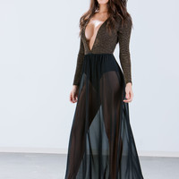 Lurex Them In Plunging Bodysuit Maxi