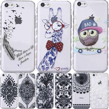 For Apple iPhone SE 5S 5C 5 S C iPod Touch 6 5 Silicon Shell Cover Case Giraffe Bear Smile Plum Bird Capinha Etui Coque Hoesje