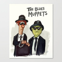 The Blues Muppets Stretched Canvas by carbonatedink