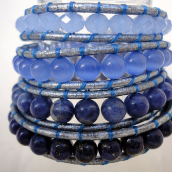 Ombre Blue Chan Luu Style- Semi-Precious  4x Beaded Wrap, Brown Leather Bracelet,
