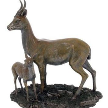 Mother Gazelle and Fawn Statue Bronze - 8345
