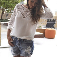 White Long Sleeve Floral Lace Accent Chiffon Top