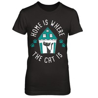 Home is Where the Cat Is Women's T-Shirt Dark