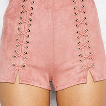 Hot Damn Faux Suede High Waist Lace Up Short - 3 Colors Available