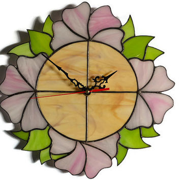 Shabby chic or Victorian style Flower Wall Clock, Romantic Wall Decor in pink, lime green and wood brown, Unique Stained Glass Wall Art