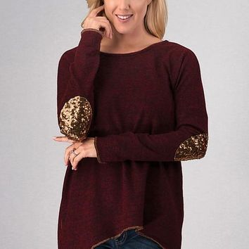 Sparkling Elbow Patches Top - Burgundy