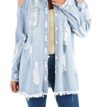 Washed and Ripped Cold Shoulder Long Denim Shirt RST711 - H20G
