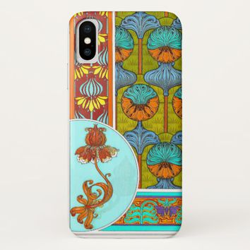 Art nouveau orange and turquoise floral phone case