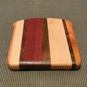 Bread Slice Cutting Board/Serving Board/Chopping Block in Cherry, Maple Walnut, and Purpleheart
