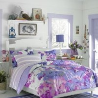 Teen Vogue  Lilac Watercolor Floral Twin Comforter Set