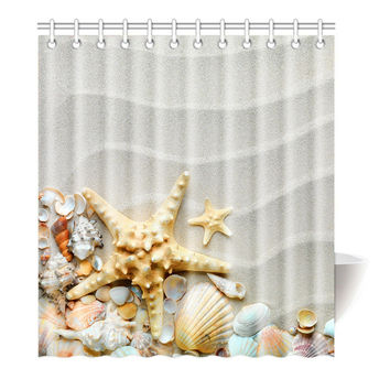 Shower Curtain	Beach Ocean Decor Seashell Conch Starfish Printing Waterproof Mildewproof Polyester Fabric Bath Curtain Bathroom