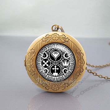 Kingdom Hearts Symbol Logo Locket Necklace,Kingdom Hearts Ultimania Trinity Emblem Symbol logo, vintage pendant Locket Necklace