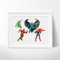 Justice League Superheroes Watercolor Art Print