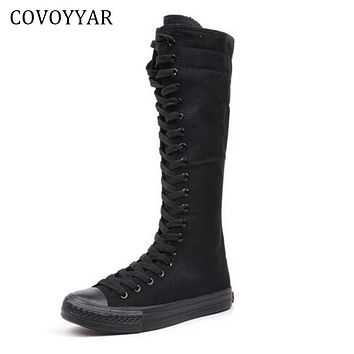 Canvas Knee High Boots Fall Winter Fashion Platform Lace Up Women Shoes Mid-Calf Boots