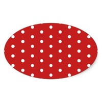 white_polka_dot_red_background pattern retro style oval sticker