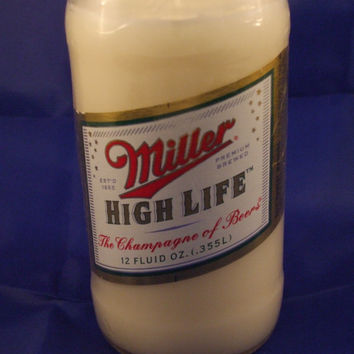 Miller High Life Beer Bottle 100% Soy Candle - Beer Scented
