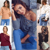 Knitted Lace Up Pullover