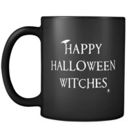 Happy Halloween Witches Mug in Black