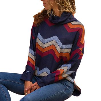 2018 Autumn Women Turtleneck Knitted Sweater Fashion Geometric Printed Pullover Sweater Loose Casual Pullovers Jumper Pull Femme