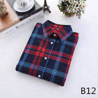 For Her: Off Stitch Medium - 5XL Plaid Flannel Long Sleeve Shirt