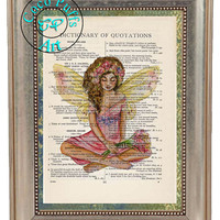 Pink Flower Fairy Art Beautifully Upcycled Vintage Dictionary Page Book Art Print, Fantasy Print