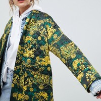 ASOS DESIGN quilted jacket in scarf print | ASOS