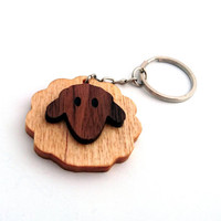 Cute Sheep Wooden Keychain, Walnut Wood, Birch wood, Animal Keychain, Environmental Friendly Green materials