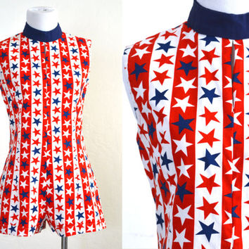 1970s Romper Stars and Stripes All American Girl